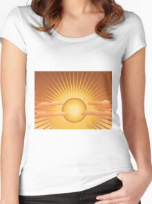 Sun with rays and clouds Women's Fitted Scoop T-Shirt