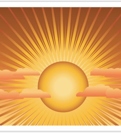 Sun with rays and clouds Sticker
