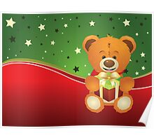 Teddy Bear with Gift Box Poster