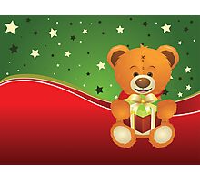 Teddy Bear with Gift Box Photographic Print