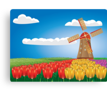 Windmill and tulips Canvas Print
