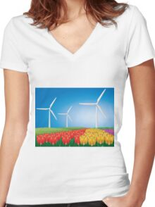 Wind turbine 2 Women's Fitted V-Neck T-Shirt