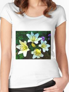 White Lily in the garden Women's Fitted Scoop T-Shirt