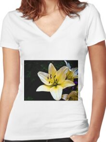 White Lily in the garden 2 Women's Fitted V-Neck T-Shirt