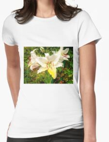 White Lily in the garden 9 Womens Fitted T-Shirt