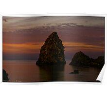 Rocks at dawn  Poster