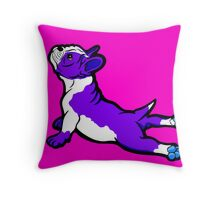Boston Bull Terrier Puppy Purple Throw Pillow