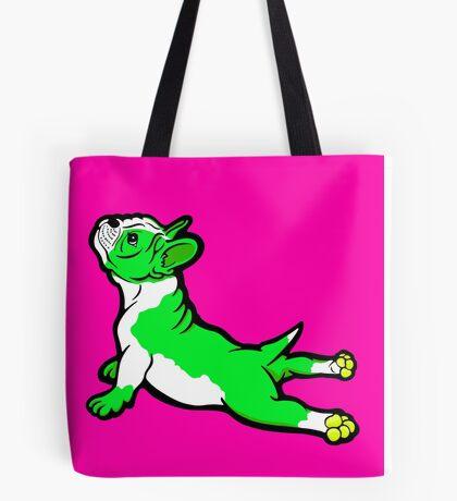 Boston Bull Terrier Puppy Green  Tote Bag