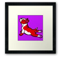 Boston Bull Terrier Puppy Red Framed Print