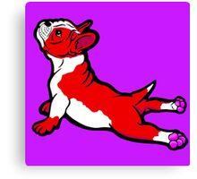 Boston Bull Terrier Puppy Red Canvas Print