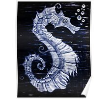 Mystical Horse of the Sea the Seahorse B/W Poster