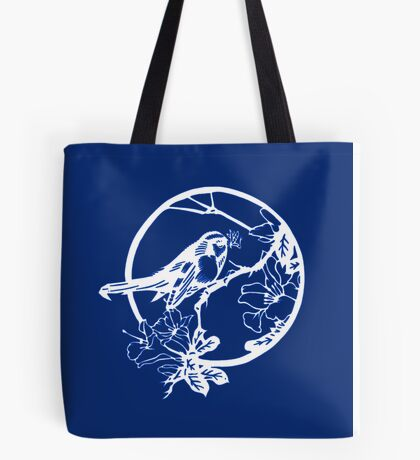Blue and White Bird on a Branch Tote Bag
