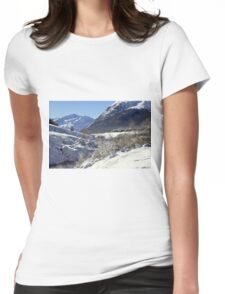 A white landscape Womens Fitted T-Shirt