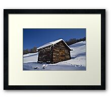 A barn in the Snow Framed Print
