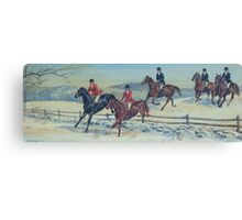 Snowy Hunt Scene Canvas Print
