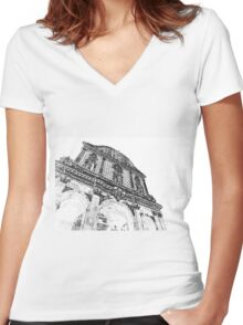 Sassari: facade of the cathedral Women's Fitted V-Neck T-Shirt