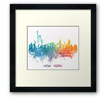 New York City skyline colored Framed Print
