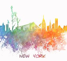 New York City colored skyline by JBJart