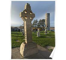 Celtic cross at Clonmacnoise Poster