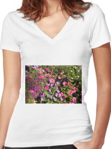 Colorful pink, white, purple garden flowers. Floral nature photography. Women's Fitted V-Neck T-Shirt