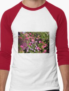 Colorful pink, white, purple garden flowers. Floral nature photography. Men's Baseball ¾ T-Shirt