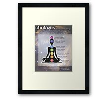 Chakras Meditation Art with Information & Quote Framed Print
