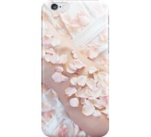 Beautiful nude asian woman lying in bed with pink rose petals on her body art photo print iPhone Case/Skin