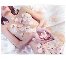 Beautiful nude asian woman with rose petals on her body art photo print Poster