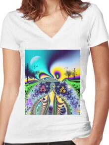 Summer fantasy Women's Fitted V-Neck T-Shirt