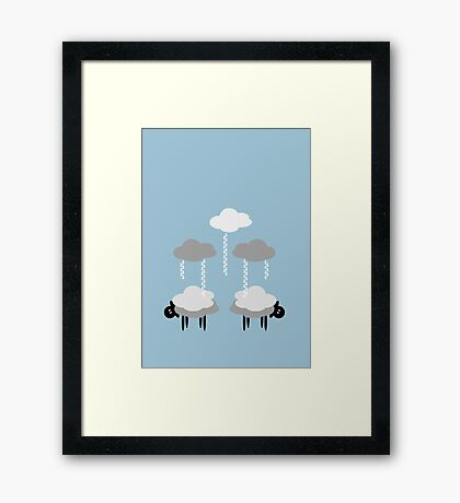 Wooly Weather - Sweater Weather - Sheep Rain Clouds Framed Print