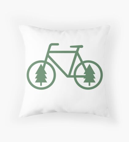 Pacific Northwest Bike - Pine Tree Bicycle - Cycling Throw Pillow