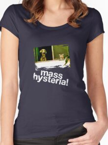 Dogs and cats living together. Mass hysteria! Women's Fitted Scoop T-Shirt