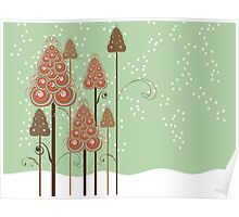 Whimsical Christmas Trees Poster