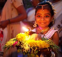 Indian Girl With Offering at Temple Parade by rukuu