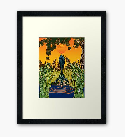Troodon in the Rushes Framed Print