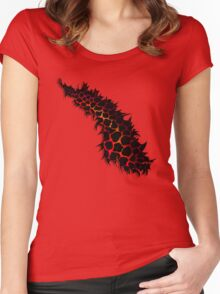 Red Leopard Print Ripped Tear Design  Women's Fitted Scoop T-Shirt
