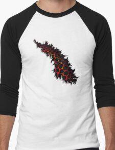 Red Leopard Print Ripped Tear Design  Men's Baseball ¾ T-Shirt