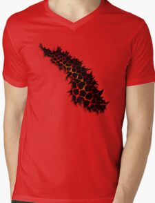 Red Leopard Print Ripped Tear Design  Mens V-Neck T-Shirt