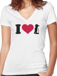 I love Penguin Women's Fitted V-Neck T-Shirt