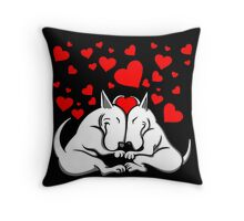 Bull Terriers In Love Throw Pillow