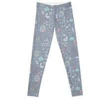 Doodle cats and flowers Leggings