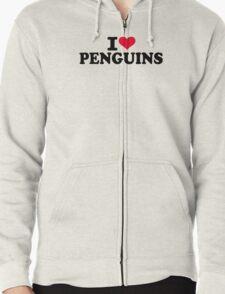 I love Penguins Zipped Hoodie