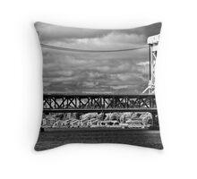 ~ Vertical Lift Bridge / B&W Throw Pillow