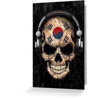 Dj Skull with South Korean Flag Greeting Card