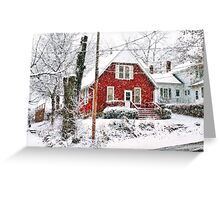 Red House in Snow Greeting Card