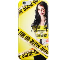 Dead zombie wrapped in tape at crime scene iPhone Case/Skin