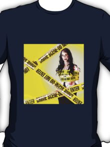 Dead zombie wrapped in tape at crime scene T-Shirt