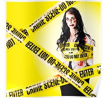 Dead zombie wrapped in tape at crime scene Poster