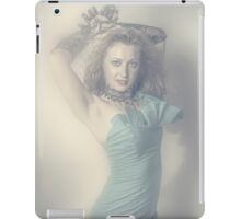 Beautiful young blonde girl in blue dress iPad Case/Skin