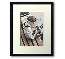 Fictional author with moment of inspiration Framed Print